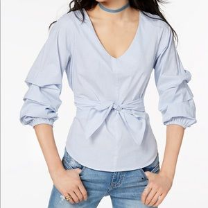 Ultra Flirt Ruffle Sleeved Tie Front Stripe Blouse